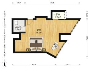 城市3米6公寓 1室1厅 53.43㎡ 精装_深圳福田区福田保税区二手房图片