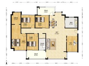 泛海拉菲花园二期 5室2厅 136.86㎡ 精装_泛海拉菲花园二期二手房户型图片2
