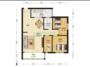 艺丰花园B区 3室1厅 83.48㎡深圳福田区梅林二手房图片